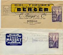 LETTRE BORDEAUX GIRONDE EN TETE BERGER ET CAFE MASSET TARIF FACTURE 1954 - Postmark Collection (Covers)