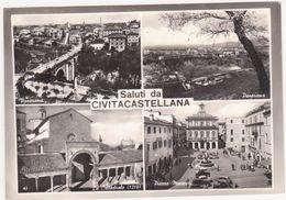 017 SALUTI DA CIVITACASTELLANA VITERBO 4 VEDUTE ANIMATA 1963 - Viterbo