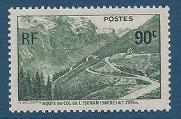FRANCE - YT N°358 - 90c. Vert Foncé - Ouverture De La Route Du Col De L'Iseran - Neuf** TTB Etat - Nuovi