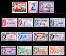 Turks & Caicos Islands 1957-1960 MNH (1.5d MVLH) Set SG 237/250 253 Cat £110 - Turks & Caicos