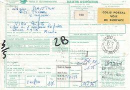 GUYANE - BULLETIN D'EXPEDITION COLIS POSTAL - CACHET CAYENNE COLIS POSTAUX  - ETIQUETTE VOIE DE SURFACE -   (P1) - Guyana (1966-...)