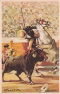 UNA BUENA VARA. ILLUSTRATION, GIRALT LERIN. CORRIDA. CIRCA 1920S SPAIN/L'ESPAGNE  - BLEUP - Corrida