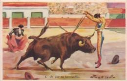UN PAR DE BANDERILLAS. CORRIDA TAUREAU/BULL/TORO. ILLUSTRATION, GIRALT LERIN. CIRCA 1920S SPAIN/L'ESPAGNE  - BLEUP - Corrida
