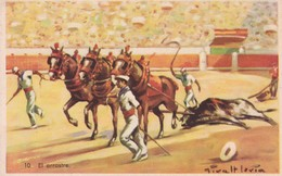 EL ARRASTRE. CORRIDA. ILLUSTRATION, GIRALT LERIN. CIRCA 1920S SPAIN/L'ESPAGNE  - BLEUP - Corrida