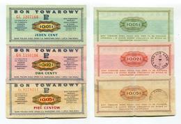 P Pologne Poland BON TOWAROWY 1 + 2 + 5 Cent / Centy / Centow 1969 - Pologne