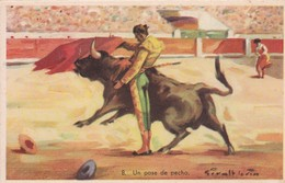 UN PASE DE PECHO. CORRIDA. ILLUSTRATION, GIRALT LERIN. CIRCA 1920S SPAIN/L'ESPAGNE  - BLEUP - Corrida