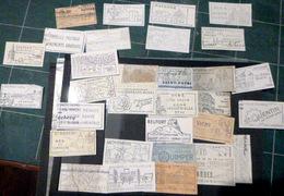 FLAMMES PUBLICITAIRES ENVIRON 80FLAMMES TOURISTIQUES AVEC ILLUSTRATIONS POUR DES VILLES  DECOUPEES SUR DES ENVELOPPES - 1921-1960: Période Moderne