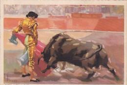PASSE AVEC LA CAPE/A PASS WITH THE CLOAK . VERONICA. CORRIDA. ILLUSTRATION TUSER. CIRCA 1920S SPAIN/L'ESPAGNE  - BLEUP - Corrida