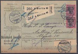 DR Paketkarte Mef Minr.2x 93I Berlin 4.2.09 Gel. Nach Dänemark - Briefe U. Dokumente