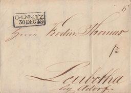 Brief R2 Chemnitz 30.12.1839 Gelaufen Nach Leubetha Bei Adorf Mit Inhalt - Sachsen