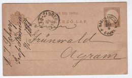1888 Nagykanizsa HUNGARY Postal STATIONERY CARD To Agram Cover Stamps - Covers & Documents