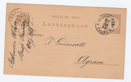 1887 Nagykanizsa HUNGARY Postal STATIONERY CARD To Agram Cover Stamps - Covers & Documents