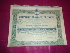 COMPAGNIE FRANCAISE DE TAHITI (100 Francs) PAPEETE-OCEANIE - Shareholdings