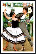 A8385 - Materialkarte Tanz Tango Stoff Stoffkleid - Ansichtskarten