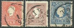 1859 - IMPERO AUSTRIACO - 5-10-15 KREUZER - USATI - SIGNED - SPL - Lombardo-Vénétie