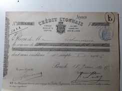 RARE : RÉCÉPISSÉ DU CRÉDIT LYONNAIS  (FONDÉE EN 1863 ) - Cheques & Traverler's Cheques