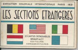 PARIS EXPOSITION COLONIALE INTERNATIONALE 1931 LES SECTIONS ETRANGERES ALBUM DE 12 CARTES POSTALES COMPLET 1 DE DETACHER - Expositions