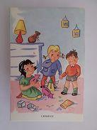 1950s ORIGINAL COMIC ART POSTCARD HUMOR FRANCE CHILD CHILDREN & AVARICE Z1 - Comics