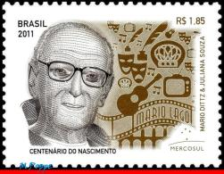 Ref. BR-3205 BRAZIL 2011 AUTHORS, MARIO LAGO, 100TH, BIRTHDAY, FAMOUS PEOPLE, MERCOSUL, MNH 1V Sc# 3205 - Unused Stamps
