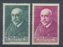 FRANCE - YT N°377 Et 377A - 65c. + 35c. Vert-bleu Et 90c. +35 C. Lilas-rose - Jean Charcot - Neuf** TTB Etat - Nuovi