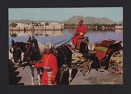 POSTCARD 1970years INDIA ROYAL BAROUCHE LAKE PALACE UDAIPUR Horse Horses Z1 - Postcards