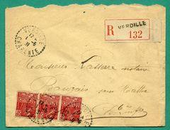 Lettre Recommandée Cachet Rond Perlé Verdille 1931 ( 16 Charente )   Adressée à Beauvais Sur Matha ( 17 ) - Manual Postmarks