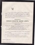 OUDENAARDE LAEKEN Ministre Baron LIEDTS 1802-1878 Congrès National 1830 Croix De Fer Gouverneur Brabant Hainaut - Obituary Notices