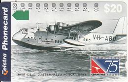 "AUSTRALIA - 75 Years QANTAS, Short S23 ""C"" Class Empire Flying Boat 1940""s, Tirage 80000, Used - Australia"