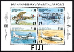 FIJI 1998 80th Anniversary Of The RAF: Miniature Sheet UM/MNH - Fiji (1970-...)