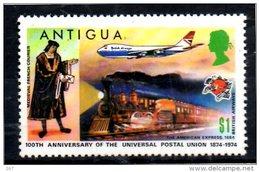 ANTIGUA  N° 331  * * ( Cote 2.25e )   Upu  Poste Facteur Medieval Francais  Avions Trains - Eisenbahnen