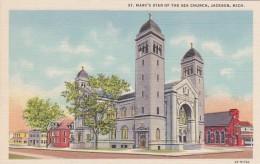 Michigan Jackson St Mary's Of The Sea Church Curteich