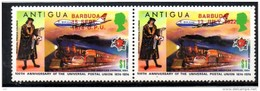 BARBUDA   N° 153 Et 160  * * ( Cote 12e )   Upu  Poste Facteur Medieval Francais  Avions Trains - Eisenbahnen