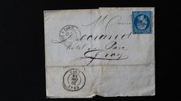 France - Lettre Enveloppe - Ambulant Sur - 20c Bleu Napoléon III Non Dentelé - Année 1859 - 1849-1876: Classic Period