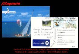 AUSTRALIA & OCEANÍA. NUEVA ZELANDA. ENTEROS POSTALES. TARJETA POSTAL CIRCULADA 2017. NUEVA ZELANDA-CUBA. AVIACIÓN - New Zealand