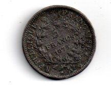 5 Francs De 1875A -non Argent-voir état - Non Classés