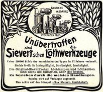 Original-Werbung/ Anzeige 1901 - SIEVERT'SCHE LÖTHWERKZEUGE / MAX SIEVERT - STOCKHOLM - Ca. 80 X 75 Mm - Publicités