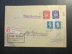 DR 1924 Nr. 346 MiF Einschreiben / Luftpost?! Oetzsch - Gautzsch 213 Nach Tiemendorf. Ankuftstempel KOS Tiemendorf - Briefe U. Dokumente