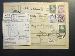 DR 1931 Nr. 343 Senkr. Paar! MiF Paketkarte Solingen - Zürich! Zoll Quittung. Viele Stempel! Kontingent Sektion Einfuhr - Briefe U. Dokumente