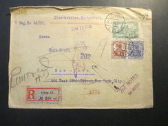DR 1920 R-Brief Mit Rückschein! Leipzig 13 Nr. 218 Ad - New York, Return. 10 Stempel! Viele Vermerke!! 2nd Notice Usw. - Deutschland
