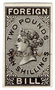 (I.B) QV Revenue : Foreign Bill £2 10/- (1871) De La Rue Plate Proof - 1840-1901 (Victoria)