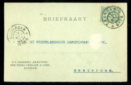 HANDGESCHREVEN BRIEFKAART Uit 1906  NVPH 55 Van ZAANDAM Naar AMSTERDAM (10.658e) - Periode 1891-1948 (Wilhelmina)