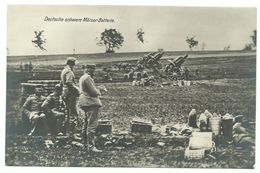 1. Weltkrieg Deutsche Schwere Mörser-Batterie Photo-AK Um 1915 - Weltkrieg 1914-18