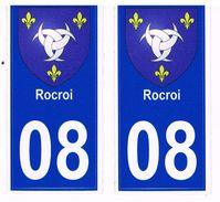 Lot De Deux Autocollants Immatriculation Ardennes 08  Rocroi - Plaques D'immatriculation
