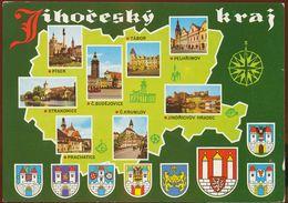 Postcard Czech Republic :  Jihocesky Kraj, Multiview Heraldry, Coats Of Arms - Czech Republic