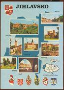 Postcard Czech Republic :  Jihlavsko, Multiview,  Heraldry, Coats Of Arms - Czech Republic