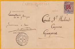 1903 - CP De Tamatave, Madagascar  Vers Cayenne, Guyane Française - Affranchissement 5 C Surchargé / 4 C Groupe Anjouan - Storia Postale