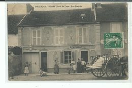 51 ORQUIGNY Entrée Du Pays Rue Blanche , Façade Café Epicerie , Personnel , Attelage Charette - France