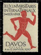 German Poster Stamps, Reklamemarke, Vignette, Athletics, Winter Games, Davos, Switzerland,Leichtathletik, Winterspiele, - Leichtathletik