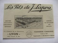 1924  -  LYON Chemin De Scaronne - Tannerie Corroirie LES FILS LAPRA - Coupure Presse Originale (Encart Photo) - Documents Historiques