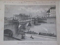 Gravure 1886 Paris Le Pont-Neuf  Les Travaux  De Réparation - Ponts